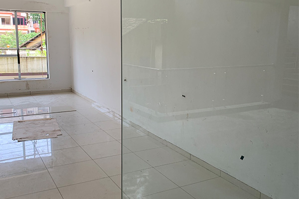 Office tiles laid within the office
