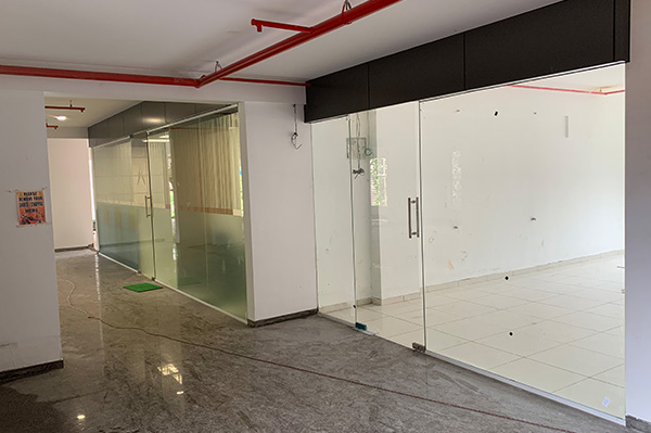 Mockup office and Office Corridor Tiles Laid